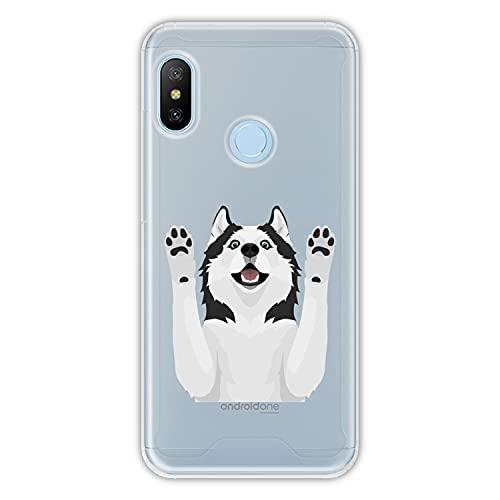 Funda rígida para [ Xiaomi Mi A2 Lite - Redmi 6 Pro ] diseño [ Husky Siberiano con Ojos Azules ] Carcasa TPU, Transparente