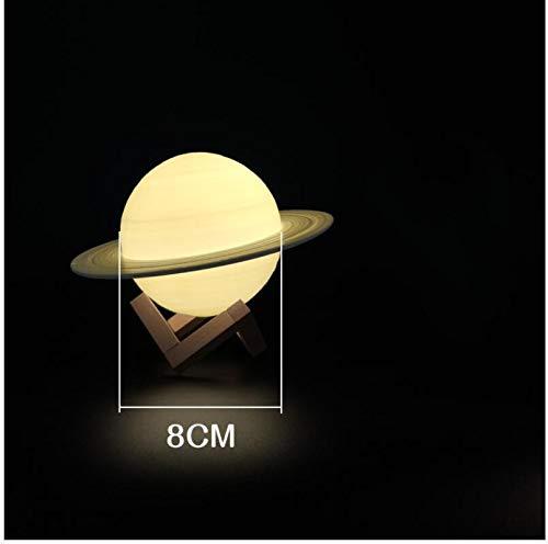 Lámpara de Saturno 3D planeta luz de luna USB luz de noche recargable creativo sueño romántico regalo de vacaciones decoración del hogar bola diámetro 8 cm control remoto tres colores