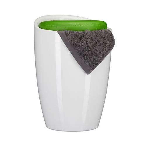 Relaxdays Badhocker zweifarbig, rund, Kunststoff, abnehmbares Sitzkissen, 28 l Stauraum, Wäschekorb, Tragegriff, grün