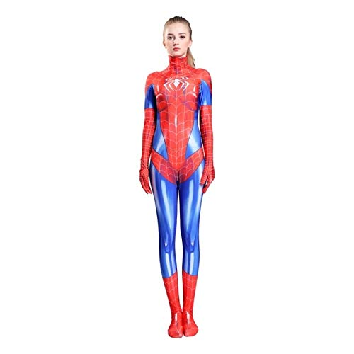 BCOGG 2019 Halloween Mujer Spiderman Leotard Disfraz Sexy Mujer Anime Cosplay Superhéroe Spider Superwomen Disfraces Monos L rojo