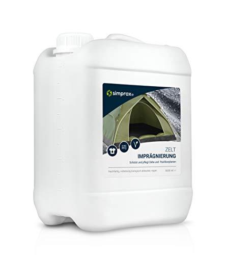 simprax® Zelt Imprägnierung Spray-On - 5,0 Liter Kanister - Oeko-TEX Zertifiziert - UV-stabil, biologisch abbaubar