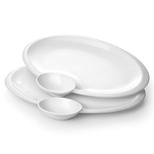 """DOWAN Chip and Dip Plates, 12"""" White Chip and Dip Serving Set, Porcelain Serving Plate with Sauce Dish for Parties, SuperBowl- Dishwasher and Microwave Safe, Set of 2"""