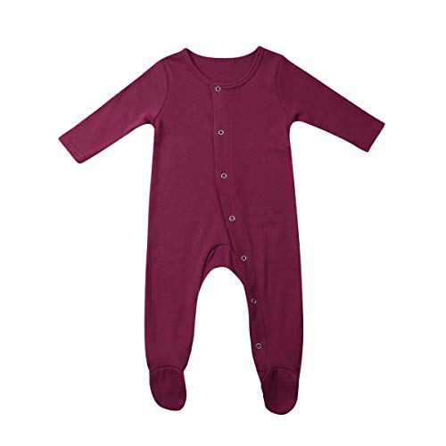 Baby Boy Clothes Newborn Boy Girl Solid Color Romper Jumpsuit Snap Side Footies Pajamas Ribbed Bodysuit (Wine Red, 12-18 Months)