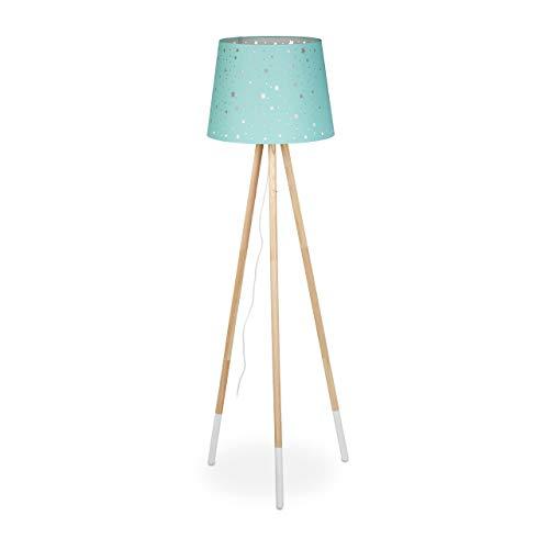 Relaxdays Lámpara de pie para habitación Infantil, E27, con Cable, Pantalla con diseño de Estrella, trípode, Tela, Madera, 147 cm de Alto, Color Verde Menta