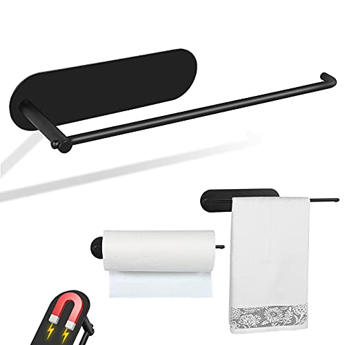 Magnetic Paper Towel Holders Refrigerator Heavy Duty 304 Towel Roll Holders with Strong Magnetic Backing - Fit for Large Paper Towels-for Kitchen, Grill, Toolbox, Garage, Shop(12in-Black)