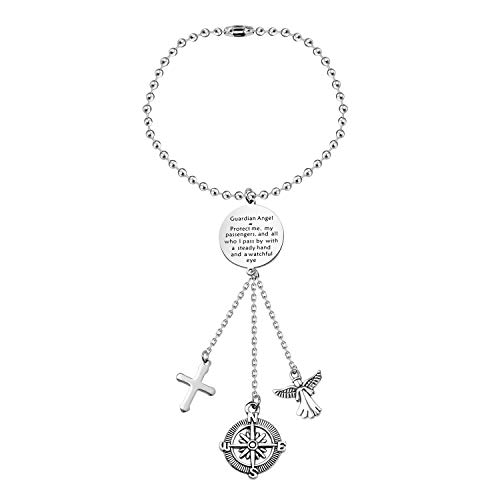 FEELMEM Guardian Angel Prayer Car Charm Driver Present Guardian Angel Protect Me and My Passengers Rearview Mirror Pendant Car Interior Decoration Drive Safe Jewelry Present(silver)