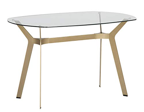 "Studio Designs Home Archtech 60"" W x 32"" D Mid-Century Modern Dining, Desk, Metal and 8mm Thick Glass Table in Gold - Clear Tempered Safety Glass Top: 60"" W x 32"" D & 8mm thick. Plastic Feet Prevent Scratches on Floors. Overall Dimensions: 60""W x 32""D x 30""H, Weight Limit: 40 lbs. Color: Gold. Heavy Duty Powder Coated Steel Frame for Durability. - kitchen-dining-room-furniture, kitchen-dining-room, kitchen-dining-room-tables - 31eywNA7lmL -"