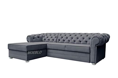 MOEBLO Chesterfield Ecksofa Sofa Couch Garnitur Stoff Samt (Velour) Glamour Wohnlandschaft - Avia (Dunkelgrau, Ecksofa Links)