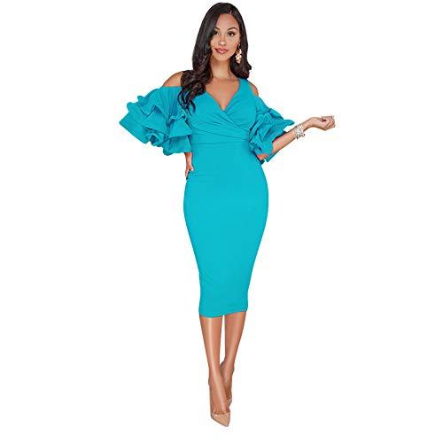 pridesong 2019 europäischen und amerikanischen sexy Lotusblatt Ärmel Off-The-Schulter-Kleid Kleid Pfau blau L