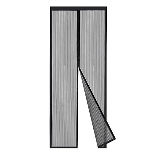 Sekey Cortina Magnética de Puerta a Prueba de Mosquito para Puertas de Madera, Puertas de Aluminio, Puertas Metálicas, Puertas del Balcón, Puertas de RV, Cierre Automático 90x210 cm, Negro