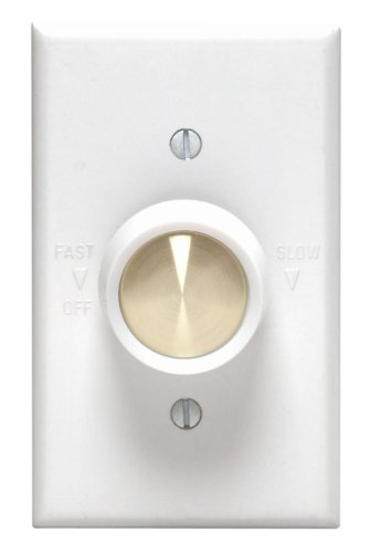 Leviton 612-6616-W Full Range Variable Fan Speed Control, 120 Vac, 60 Hz, 5 A, Switch, White