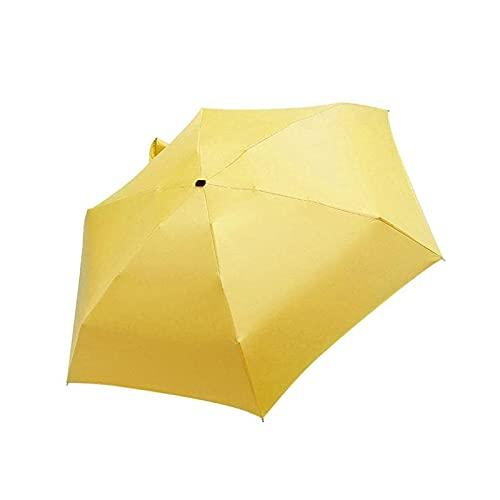 LYB Paraguas plano y ligero para días lluviosos y soleados, paraguas plegable, mini paraguas para mejorar el hogar, producto para el sol (color: amarillo)