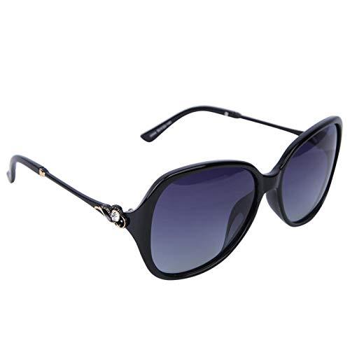 DAUERHAFT Gafas de protección de Moda para Mujer, para Acampar al Aire Libre, para Proteger los Ojos(Bright Black Frame Double Gray Sheet)