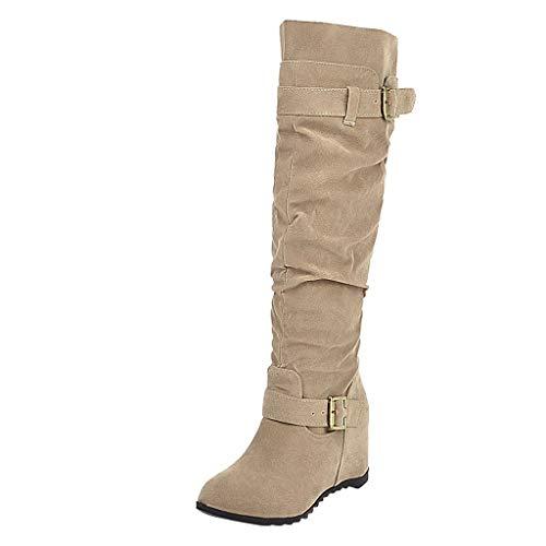POLP Botas de Nieve de Tacon Invierno Mujer Botas Altas de Cuña Tacon de 6 cm Zapatos Señora Invierno Botas de Vestir Mujer Botines Planos Mantener Caliente Marron Cuña Interior
