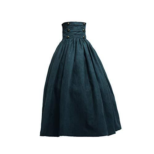 BLESSUME Abito Vittoriano Gothic Gonna Lunga Steampunk Donna Skirt (L, Verde)