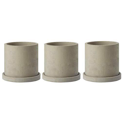 BRT Ceramic 4-Inch Gray Unglazed Concrete Succulent Planter Pots Cement Cactus Planter Mini Plant Pot Flower Pots with Drainage Hole and Removable Saucer, Set of 3