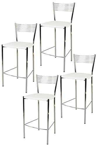 Tommychairs - Set 4 sgabelli alti modello Elegance per cucina e bar, struttura in acciaio cromato e seduta imbottita e rivestita in pelle artificiale colore bianco