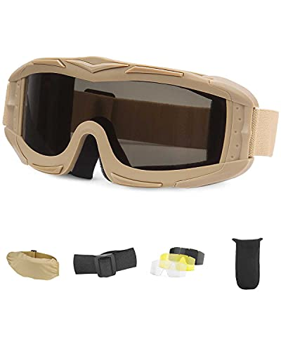 Airsoft Goggles Tactical Safety Goggles Anti Fog With 3 Lens Military