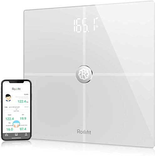 Rolli-Fit Smart Body Fat Scale, Digital Bathroom Weight Scale Sync with Fitbit, Apple Health and Google Fit, Tracks 8 Key Compositions Analyzer, 6mm Tempered Glass, 400 lbs, White