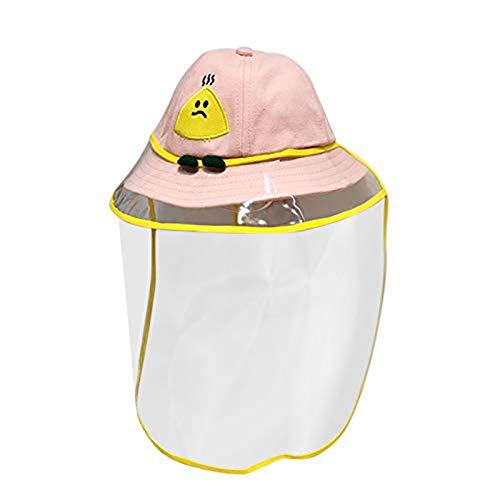 Zidao Kinderschutz Fischerhut Anti-Fogging Smiley Fischerkappe Sonnenschutzhut Für Kinder,Rosa