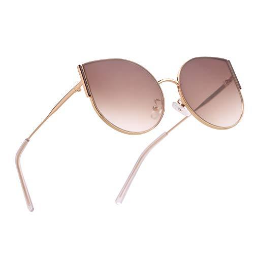 ROYAL SON Women's Stylish Round Cat Eye Oval Sunglasses (Gradient Lens, Brown)
