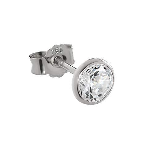 NKlaus Single 5,3mm Stud Earrings White Gold 750 Gold Earrings 18 Carat Zirconia White 2610