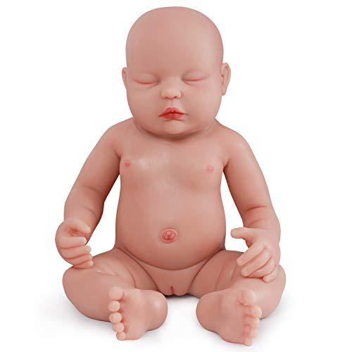 Vollence Poupée Reborn bébé endormi réaliste 46 cm, Yeux fermés, sans PVC, Silicone Platine, Corps Complet Aspect réel d'un véritable Enfant, Réaliste, Doux fabriqué à la Main avec vêtements - Fille