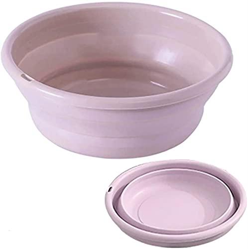 TXXM Zusammenklappbare Wäschekorb, faltende Outdoor-Klappwäsche-Waschbecken Faltender Eimer-Behälter tragbares Waschbecken Zusammenklappbare Silikonwaschbecken Badezimmer-Zubehör (Rosa (kleiner Größe)