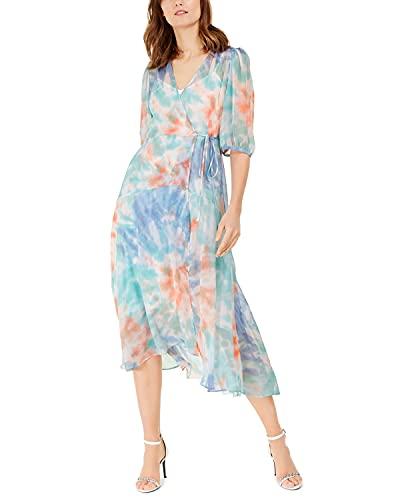 Calvin Klein Women's Tie-Dyed Wrap Dress Blue Multi 4