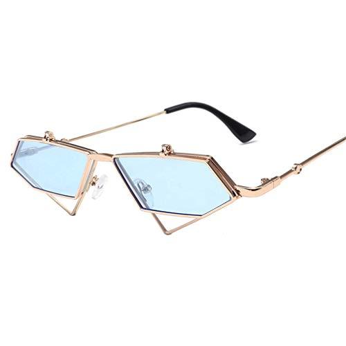 WSDSX Gafas de sol punk para mujer Gafas de sol para exteriores Gafas de sol poligonales irregulares Gafas de sol de protección UV400 Marco de mujer Ultra ligero, Azul