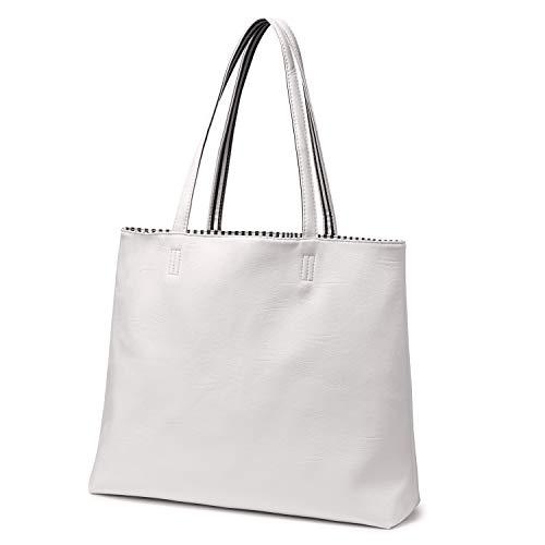 LOVEVOOK Shopper damen groß Leder Doppelseitige Einkaufstasche faltbar handtasche Schultertasche Henkeltasche draußen Gestreift Innen zwei Farben Schwarz/Weiß