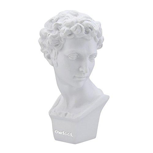 Owfeel Estátua de molde de gesso com altura de 15,5 cm em resina com pintura branca