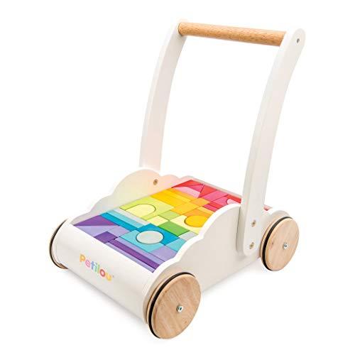 Le Toy Van - Carrito Petilou andador de madera | Carrito andador Nubes y Arcoíris | Recomendado para niños y niñas - A partir de +12 meses