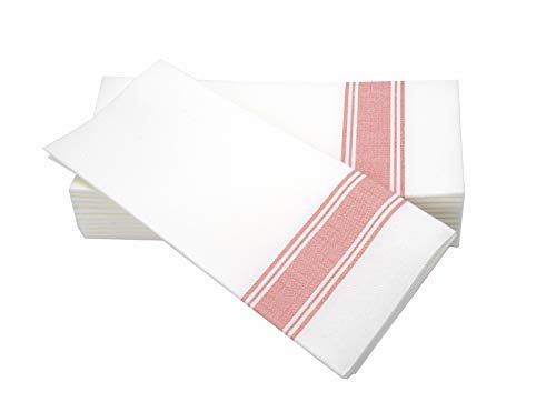 Simulinen Dinner Napkins -Red Stripe Bistro- Decorative Cloth Like & Disposable Large Napkins - Soft, Absorbent & Durable (19'x17' - Box of 60)