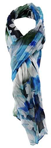 TigerTie chiffon sjaal in blauw turquoise groen wit patroon - maat 180 x 50 cm.