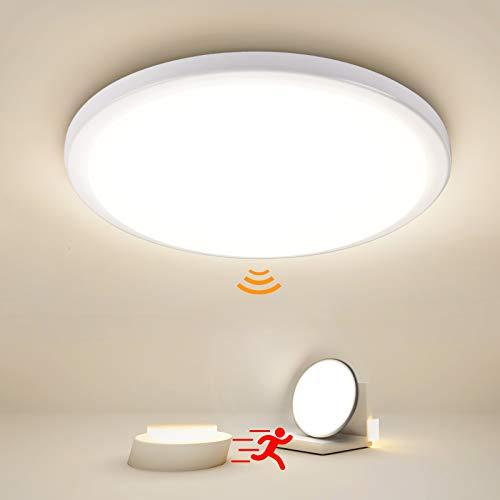 LED Deckenleuchte mit Bewegungsmelder 24W, Oraymin 2400LM LED Deckenlampe mit Bewegungsmelder Einstellbar, IP54 Badlampe für Bad Balkon Wohnzimmer Flur Kellerräume, Neutralweiß 4000K, Ø28.8cm