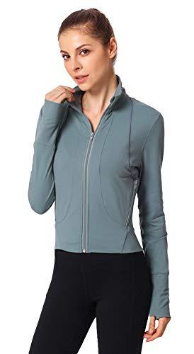 Icegrey Femme Tops de Sport Running à Manches Longue Veste de Fitness Yoga Vert XL