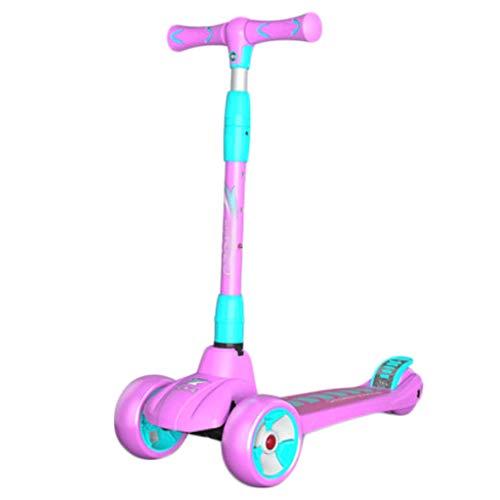 Scooters para Niños Aumento de scooters de patada para niños de 3 a 14 años - Tablero de pie con amplia placa plegable, y altura ajustable LED LIGHT Wheels Scooter Antideslizante Scooter Patinete Niño