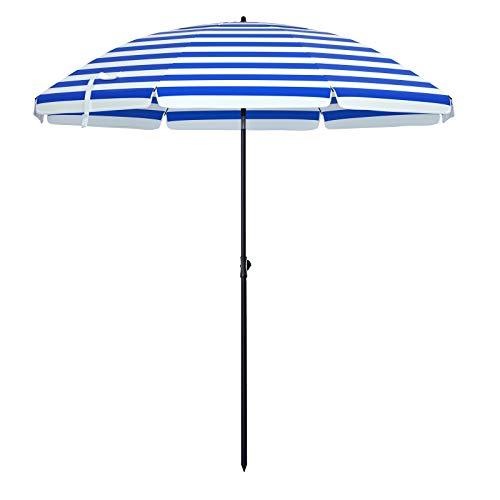 SONGMICS Sonnenschirm für Strand, Ø 200 cm, Gartenschirm, UV-Schutz bis UPF 50+, knickbar, tragbar, Schirmrippen aus Glasfaser, blau-weiß gestreift GPU65WU