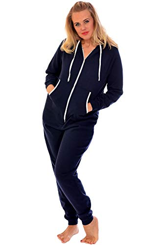Nouvelle Collection Unisex Hooded Zip Onesie Navy Blue 5XL