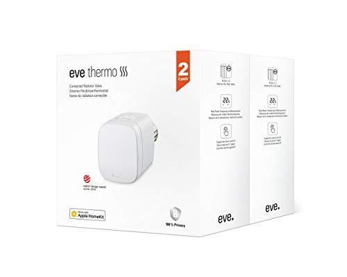 Eve Thermo, 2er Set - Smartes Heizkörperthermostat mit LED-Display, automatischer Temperatursteuerung, keine Bridge erforderlich, integriertes Touch-Bedienfeld, BLE, Apple HomeKit, Made in Germany