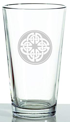 IE Laserware Irish Celtic Shield Knot Laser Etched Engraved Beer Glass, 16 Ounce Pub Pint Glass - Great Irish Gift