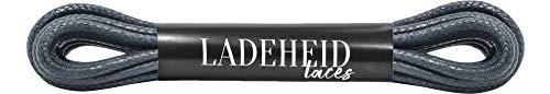 Ladeheid Qualitäts-Schnürsenkel Gewachst LAMTW05, Rundsenkel für Business-, Anzug- und Lederschuhe, ø 3 mm, Längen 40-130 cm (Grau, 50 cm/ø 3 mm)