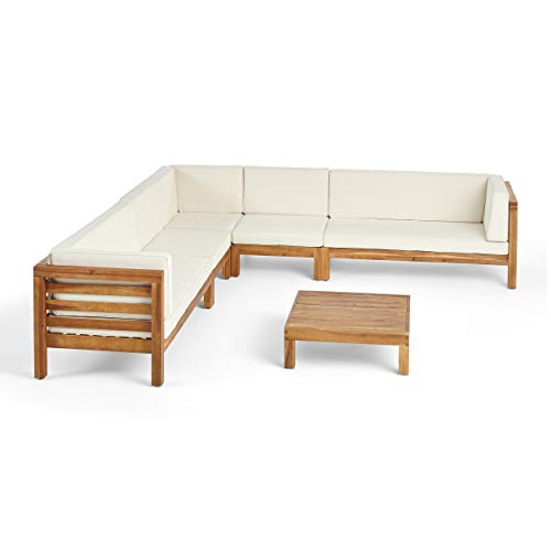 Emma Outdoor 7 Seater Acacia Wood Sectional Sofa Set, Teak Finish and Beige