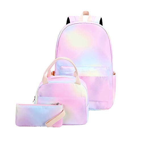 JAWSEU Mochila de Arco Iris para niñas, Mochila Escolar Resistente al Agua, Adolescentes Mochila Girls Rainbow Glitter Backpack con Bolsa de Almuerzo y Estuche de Lápices (E)