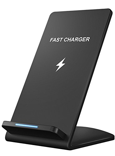 Wireless Charger, Pasonomi Qi Certified Fast Wireless Charger Stand for Galaxy S9/S9+/S8/8+, Note 8/5, S7/S7 Edge/S6 Edge+, Standard Wireless Charging Compatible with iPhone X/8/8 Plus (No AC Adapter)