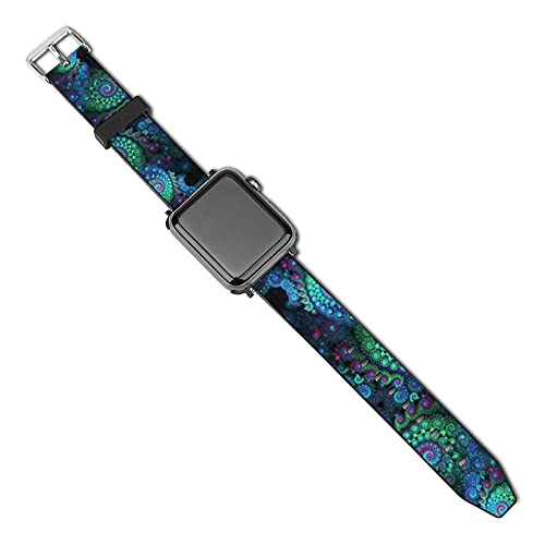 Unisex Adjustable Elastic Band Compatible with Apple Watch Bands 38mm 40mm 42mm 44mm Stretchy Soft Strap Replacement Wristband for iWatch Series 5/4/3/2/1 - Magical Tie Dye Mandala