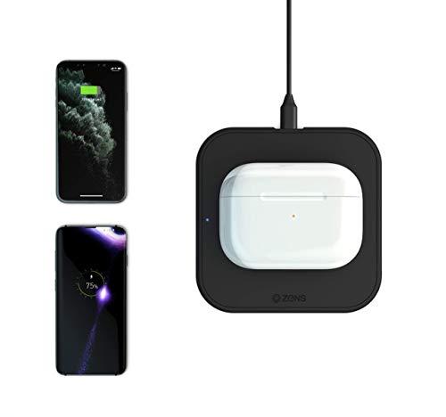 ZENS Single Wireless Charger Schwarz - Kabelloses 10W-Ladegerät mit Fast Charging für Apple iPhone & Samsung Galaxy (rutschfeste Oberfläche I 5mm Höhe I Automatischer Standby-Modus)