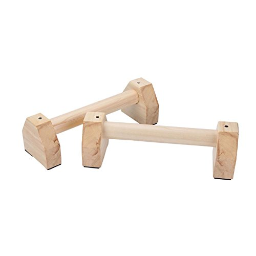 Renoble 2PCS Liegestützgriffe Holz Parallettes Push Up Bar Liegestütz Push Up Griffe Calisthenics Handstand Yoga Liegestütze Doppelstab, 32 cm Practical