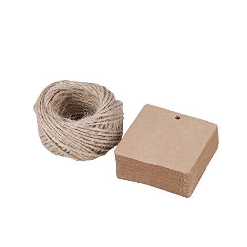 SUPVOX Etiquetas papel kraft etiquetas regalo cuadradas